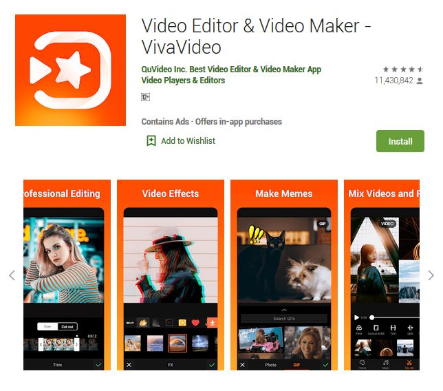 A screenshot photo of the mobile app Video Editor & Video Maker - VivaVideo