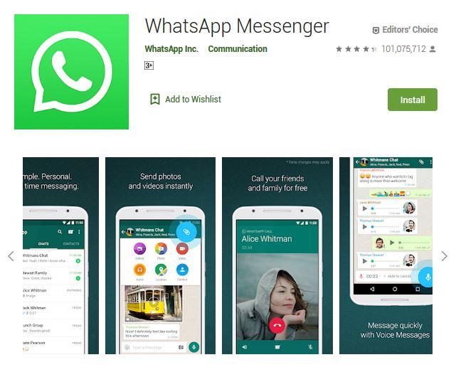 A screenshot photo of the mobile app WhatsApp Messenger