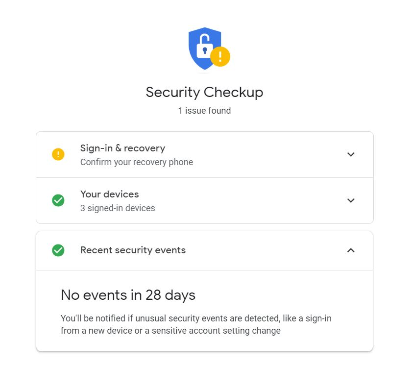 """A screenshot of the Security Checkup page of Google. It has a blue padlock icon on the top portion of the photo and few other smaller icons. It is for the """"How to Delete Google Account in Just a Few Steps"""" blog of TechToGraphy."""