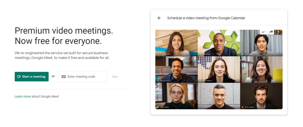 """A screenshot of the Google Meet website for the """"How to Use Google Meet on Your Computer, Phone, or Tablet"""" blog post in the TechToGraphy website. There is a collage of faces of different people on the right side of the photo."""