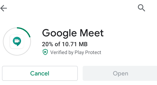 """A screenshot of the Google Meet app being installed for the """"How to Use Google Meet on Your Computer, Phone, or Tablet"""" blog post in the TechToGraphy website."""