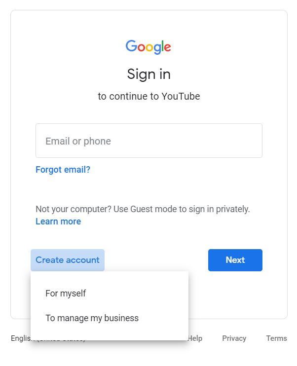 """A screenshot from the Google Sign In page taken for the """"How to YouTube: An Extensive Guide for Starters"""" blog post in TechToGraphy. The photo has the word """"Sign In"""" in spotlight."""