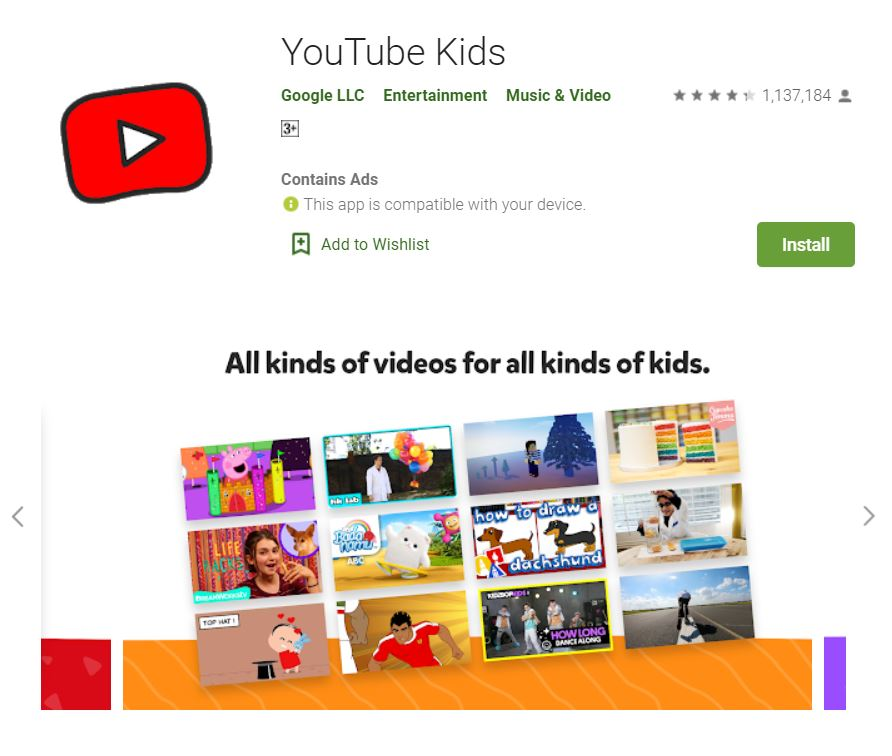 "A screenshot from Google Play taken for the ""How to YouTube: An Extensive Guide for Starters"" blog post in TechToGraphy. The photo has the logo of YouTube Kids App."