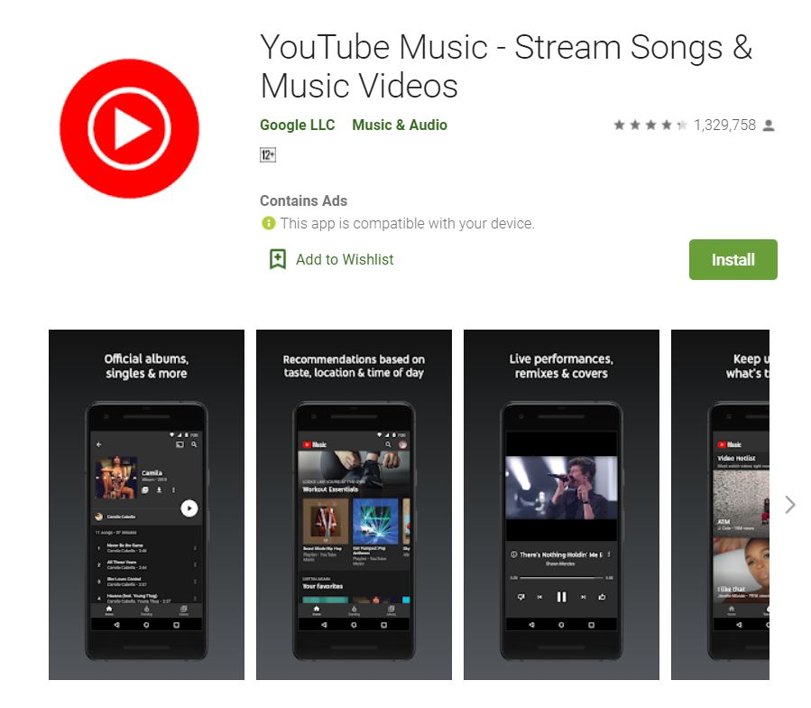 "A screenshot from Google Play taken for the ""How to YouTube: An Extensive Guide for Starters"" blog post in TechToGraphy. The photo has the logo of YouTube Music App."