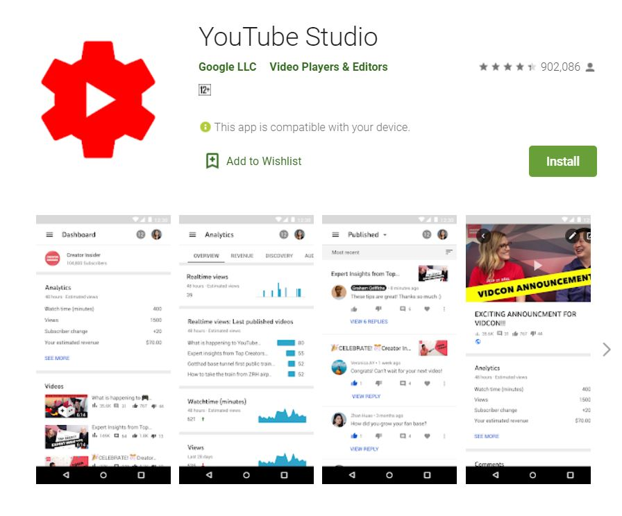 """A screenshot from Google Play taken for the """"How to YouTube: An Extensive Guide for Starters"""" blog post in TechToGraphy. The photo has the logo of YouTube Studio App."""