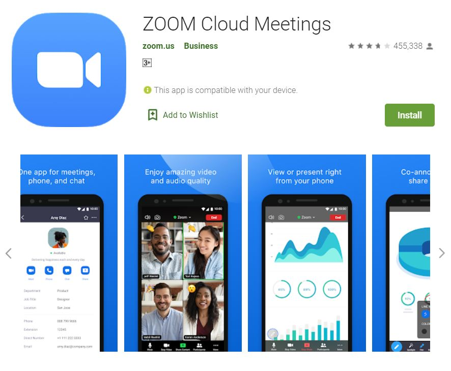 "A screenshot of the ZOOM Cloud Meetings app from Google Play. It has the logo of zoom at the upper left corner of the screen and collage images of phones, displaying Zoom features below. This photo is for the ""How to Use Zoom"" blog of TechToGraphy."