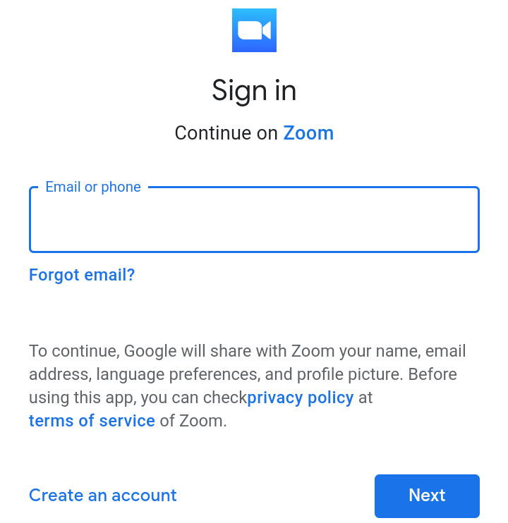 "A screenshot of the Google account ""Sign In"" page from the Zoom Clod Meetings app. This photo is for the ""How to Use Zoom"" blog of TechToGraphy."