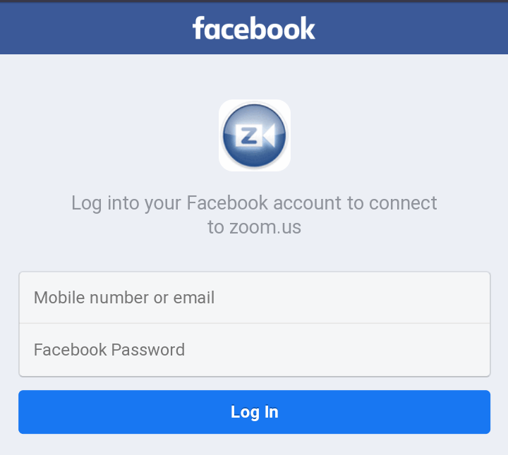 "A screenshot of the Facebook ""Sign In"" page from the Zoom Cloud Meetings app. This photo is for the ""How to Use Zoom"" blog of TechToGraphy."