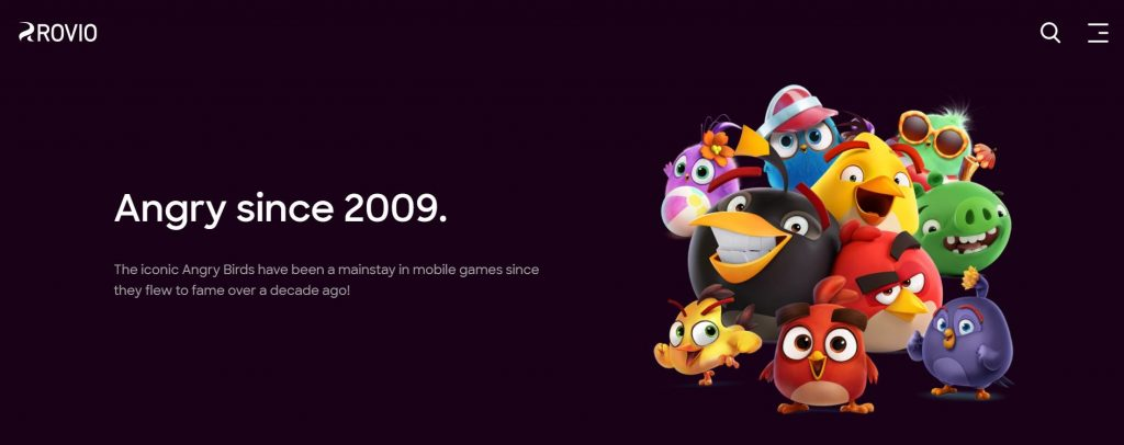 """A screenshot from the Rovio website featuring the phrase """"Angry since 2009."""" Several Angry Birds characters are also in this picture."""