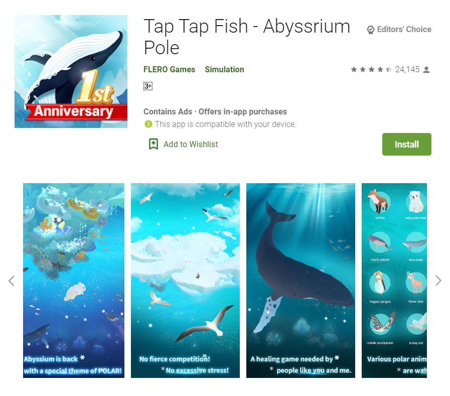 This screenshot featured the mobile game Tap Tap Fish - Abyssrium Pole, one of the Editors Choice Games in Google Play.