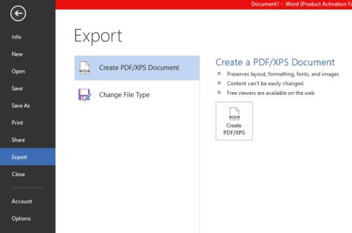 How to create/make PDF file using Microsoft Word