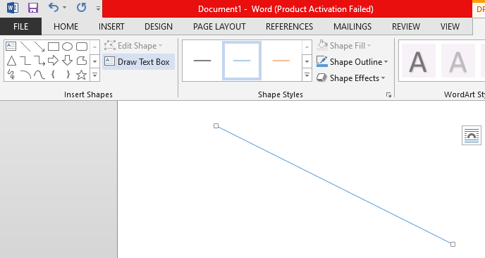 Using Shapes to insert a line in MS Word
