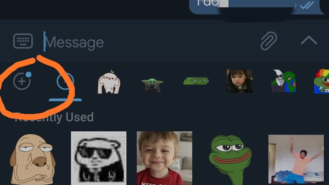 How to use default stickers in telegram
