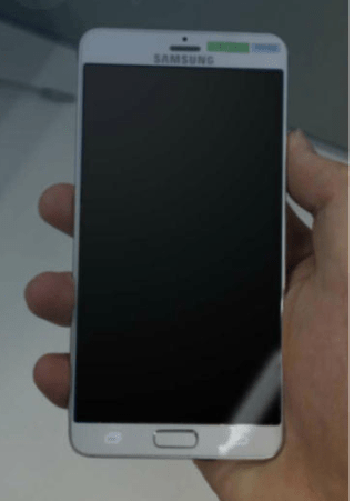 An alleged image of a prototype of Samsung's next Galaxy smartphone.( Source:Toptienmobiel)