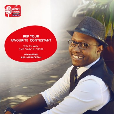 """Kenya's winner Benjamin Webi who will battle it out with 12 other contestants from accross Africa. To vote for Webi CALL 0900733733 or SMS the word """"WEBI""""  33733."""
