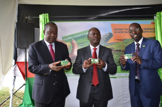 ICT Cabinet Secretary Dr Fred Matiang'i with Kiambu Governor William Kabogo during the launch of Kiambu County Digitika Programme today. The online-integrated Kiambu County card will enhance efficiency in revenue collections as transactions can be tracked.