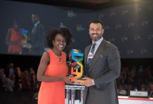 Doreen Kessy, Chief Business Officer of Ubongo receiving the Next Billion Edtech Prize trophy from Jay Varkey at GESF 2019 in Dubai