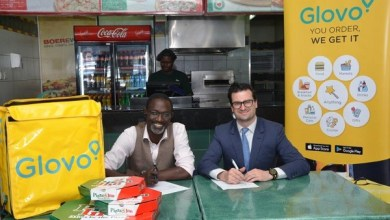 From left Joseph Claver, Simbisa Brands' Head of Business Development and Glovo's General Manager for Kenya, William Benthall during the signing ceremony