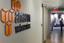 Amazon Web services logo on wall