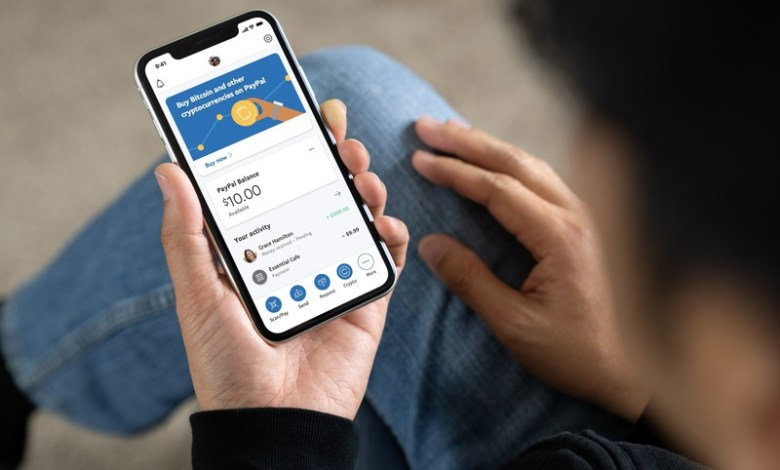 PayPal wallet with options to buy and sell crypto