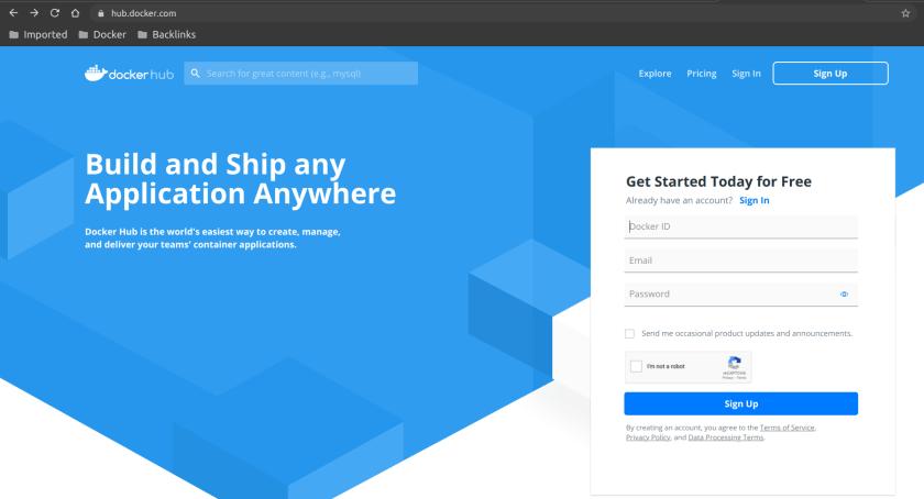 Dockerhub Docker registries signup