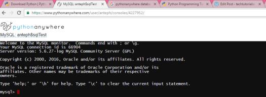 Pythonanywhere: Accessing the MySQL database – techtutorialsx