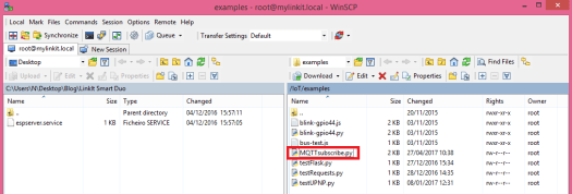 LinkIt Smart WinSCP MQTT file creation
