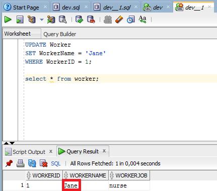 SQL Developer Worker Table after commit