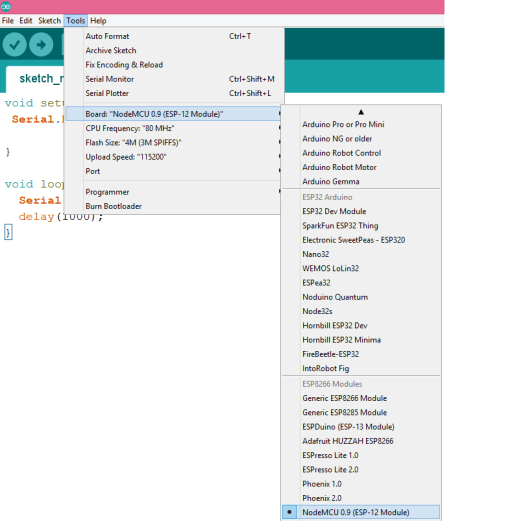 WiFi Bee code from Arduino IDE