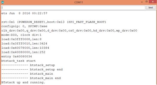 BTstack Arduino IDE output