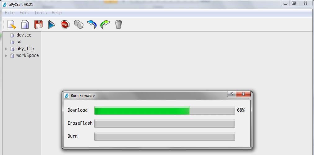 ESP32 uPyCraft IDE burn firmware progress