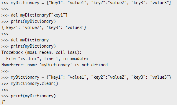 MicroPython Dictionary deletion functionalities.