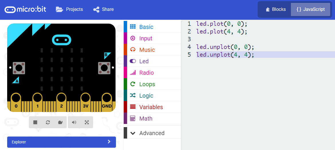 microbit board simulation turn off LED.png