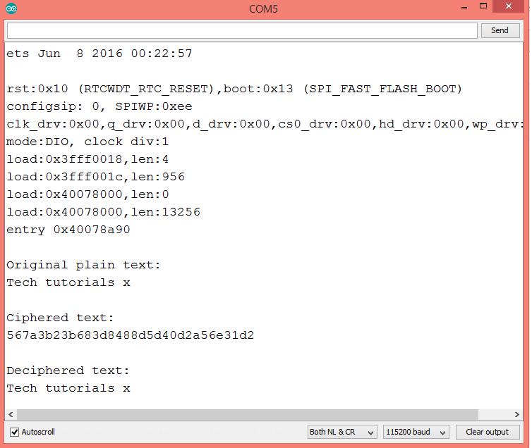 ESP32 Arduino: Decrypt AES-128 in ECB mode – techtutorialsx