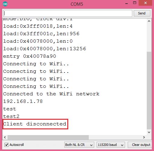 ESP32 Socket Server Putty Client Disconnected