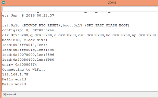 Output of the HTTP request body printed to the Arduino IDE serial monitor
