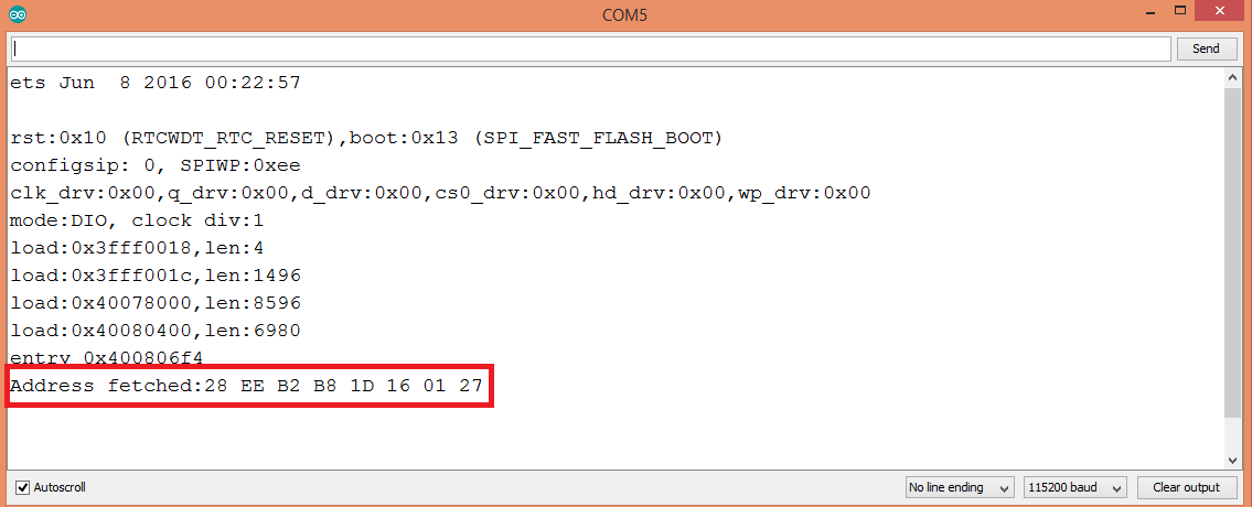 Printing the unique address of a DS18B20 sensor to the Arduino IDE serial monitor