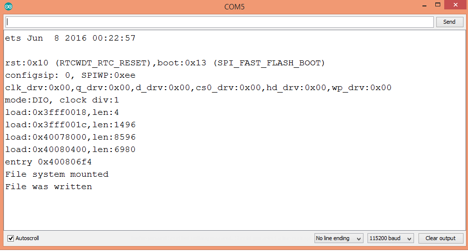 Arduino IDE showing result of writing to a file in the ESP32 FAT file system