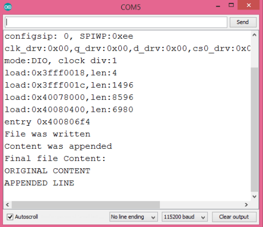 Output of the file created in the ESP32 file system, after appending content