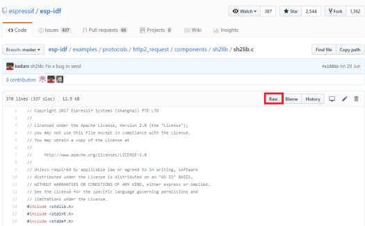 Getting sh2lib files as raw in GitHub