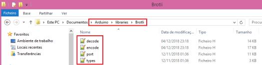 Adding header files to brotli Arduino library