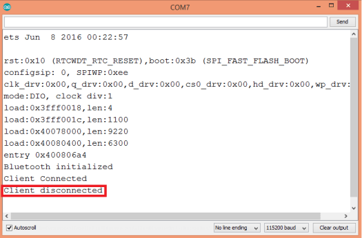 Printing a message on the Bluetooth client disconnection event, using the ESP32 and the Arduino core