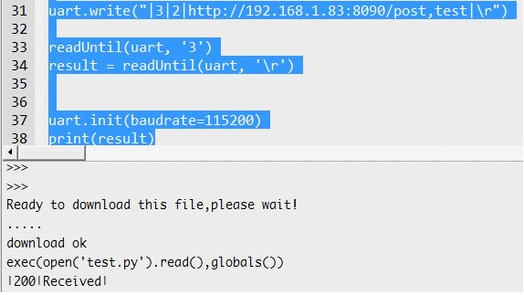Sending HTTP POST request to Flask server using micro:bit and the UART OBLOQ, with microPython