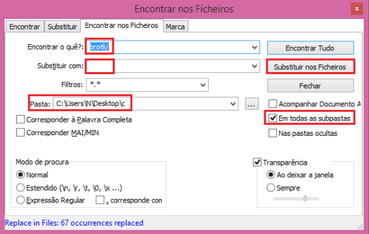 Replacing paths in brotli library with Notepad++