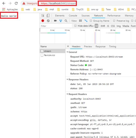 Hello World response from node.js HTTP/2 server
