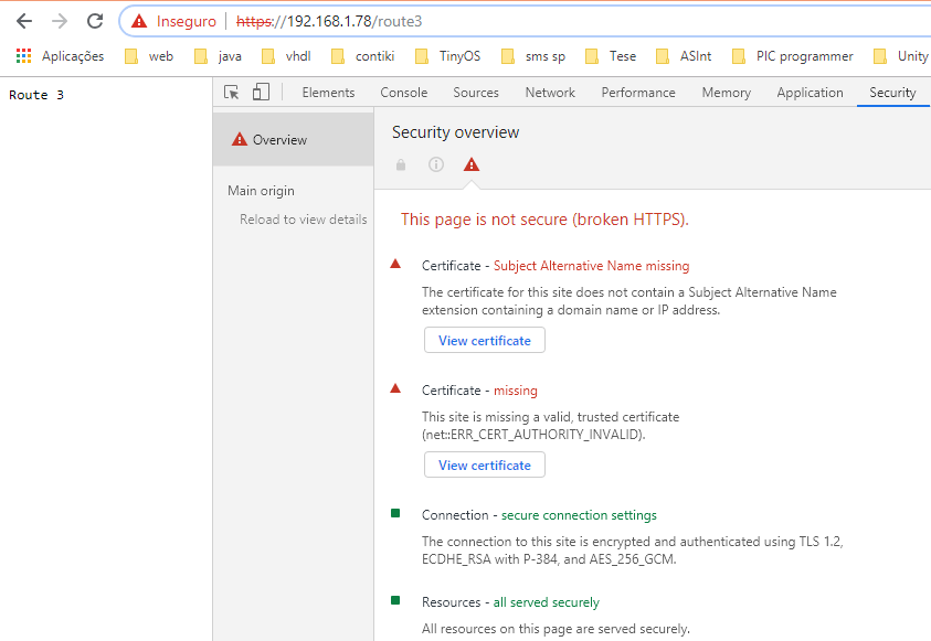 Making HTTPS request to a server hosted by the ESP32, using Google Chrome.