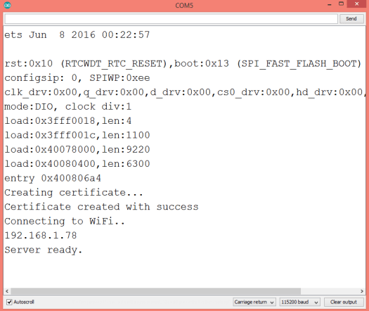 Output of the Arduino program on the Serial Monitor, after generating self signed certificate and connecting to WiFi with the ESP32