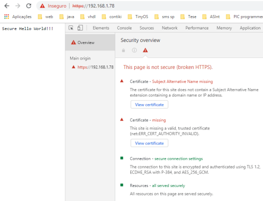 Accessing the content served by the ESP32 over HTTPS