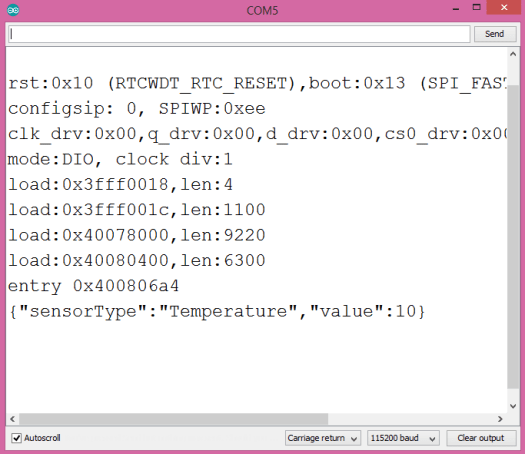 Printing serialized JSON to the Arduino IDE serial monitor, using the ESP32, Arduino JSON and the Arduino core.