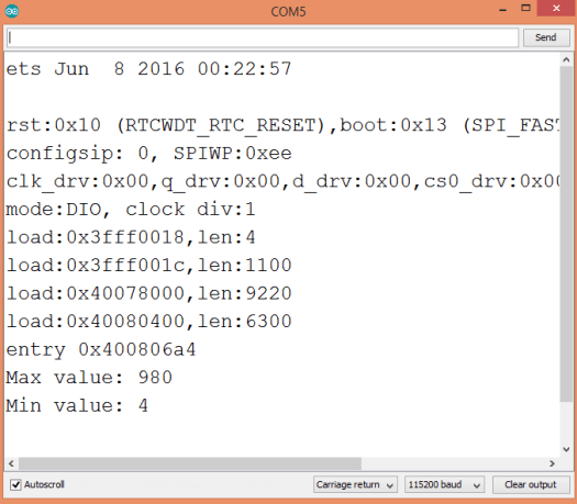 Output of the Arduino program, showing the maximum and minimum values of the array.